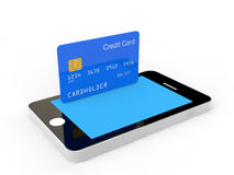 Cellphone and credit card Royalty Free Stock Image