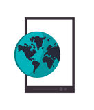 Cellphone and earth globe icon. Flat design cellphone and earth globe icon vector illustration Stock Photos