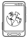 Cellphone with earth globe Royalty Free Stock Image