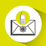 Cellphone email concept send message graphic Royalty Free Stock Images