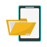 Cellphone and file folder icon. Flat design cellphone and file folder  icon vector illustration Stock Image