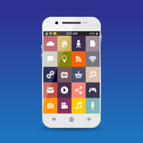 Cellphone with flat icons Royalty Free Stock Photo