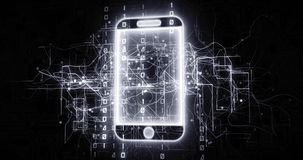 Cellphone 5G device in virtual cyberspace network with binary code. Futuristic technological projection as 4k animation detail