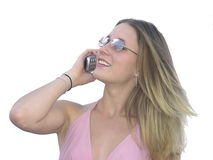 Cellphone girl. Teenager talking on cellphone Royalty Free Stock Images