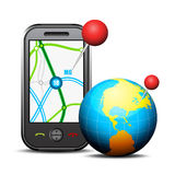 Cellphone and globe Royalty Free Stock Photo