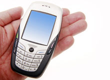 Cellphone on hand. Modern cellphone on man's hand.(on white background Stock Photography