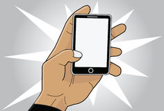 Cellphone in hand. Illustration of a hand with a cellphone Royalty Free Stock Photography