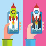 Cellphone in hand with spaceship. Start up vector concept. Start up vector illustration concept for new business project or service. Smartphone in hand with Stock Photos