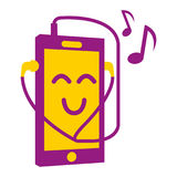 Cellphone. A happy cellphone listening to music Royalty Free Stock Image