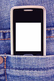 Cellphone in jeans pocket Stock Images