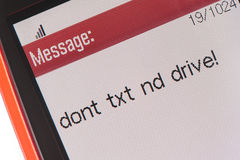 Cellphone message Don't Text & Drive Royalty Free Stock Photos