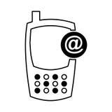 Cellphone met arrobaapparaat geïsoleerd pictogram Stock Foto's