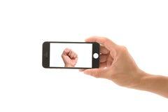 Cellphone met hand Royalty-vrije Stock Foto
