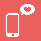 Cellphone met met van het besprekingsbel en hart vorm Vlakke vectorillustratie Het pictogram van het liefdebericht royalty-vrije stock afbeelding