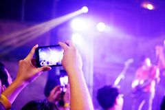 Cellphone Mobilephone Photographing Concert Night Time Royalty Free Stock Photo