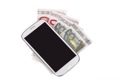 Cellphone and money on white Royalty Free Stock Photo