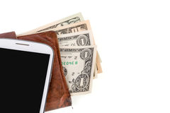 Cellphone and money on white Stock Photo