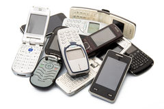 Cellphone. Old and obsolete cellphone on white background royalty free stock photo