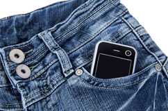 Cellphone in the pocket Royalty Free Stock Photos