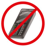 A cellphone with a red sign Stock Image