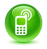 Cellphone ringing icon glassy green round button Stock Photos