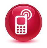 Cellphone ringing icon glassy pink round button Stock Photo