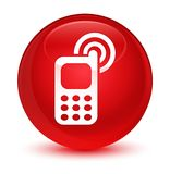 Cellphone ringing icon glassy red round button. Cellphone ringing icon isolated on glassy red round button abstract illustration Royalty Free Stock Photo