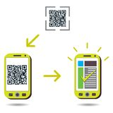 Cellphone scanning QR code and showing success Royalty Free Stock Images