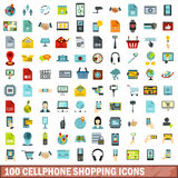 100 cellphone shopping icons set, flat style. 100 cellphone shopping icons set in flat style for any design vector illustration Stock Image