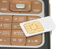 Cellphone and sim card close up Stock Image