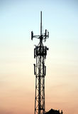 Cellphone tower. Silhouette of a cellphone tower at sunset Stock Images