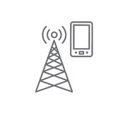 Cellphone tower icon with emitting pinging transmission waves. Cellphone tower icon w emitting pinging transmission waves stock illustration