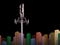 HIGH TECH CITYSCAPE COMMUNICATION CONNECTIVITY TECHNOLOGY BACKGROUND. High Tech Cellphone Tower with Modern Cityscape on Black Background-Communication royalty free stock photos