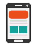 Cellphone with webpage on screen icon. Simple flat design cellphone with webpage on screen icon  illustration Royalty Free Stock Image