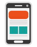 Cellphone with webpage on screen icon. Simple flat design cellphone with webpage on screen icon  illustration Stock Images