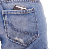 Cellphone in woman's pocket Royalty Free Stock Photos