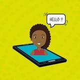 cellphone woman speech speak Royalty Free Stock Images