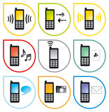 Cellphone01_5_icons3. Cellphone Icons (chat, ringtones, games, camera, send and receive, etc Stock Illustration