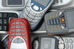 Cellphones. Used old GSM Cell phones Royalty Free Stock Photo