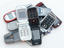 Cellphones. Used old GSM Cell phones Stock Image