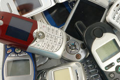 Cellphones. Used old GSM Cell phones Stock Photo