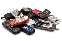 Cellphones. Used old GSM Cell phones Stock Photography