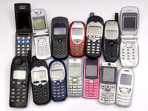 Cellphones. Used old GSM Cell phones Royalty Free Stock Photography