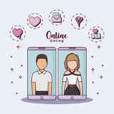 Online dating design. Cellphones with avatar couples with online dating related icons around over blue background, colorful design. vec Royalty Free Stock Photography
