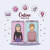 Online dating design. Cellphones with avatar couples with online dating related icons around over blue background, colorful design. vec Stock Photos