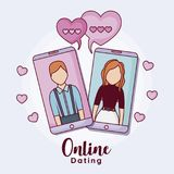 Online dating design. Cellphones with man and woman with hearts around over purple background, colorful design. vector illustration Royalty Free Stock Image