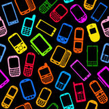 Cellphones and Smartphones Seamless Pattern Stock Photography