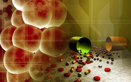 Cells and capsules. Digital illustration of cells and capsules Stock Photos