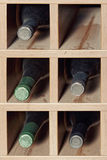 Cells with five  wine bottles Royalty Free Stock Images