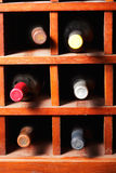 Cells with six wine bottles Stock Photos
